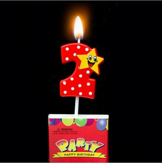 Bowknot Number Cake Candles Cartoon Boy Girl Kids Birthday Cake