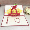 1pcs Handmade 3D Laser Cut Paper Greeting Pop Up Kirigami Card Wedding Invitation Valentine's Day Postcards Thanksgiving Gifts - cake decorations ideas