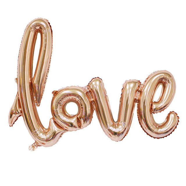 108*65 cm Ligatures LOVE Letter Foil Balloon Anniversary Wedding Valentines Party Decoration Balloon Red Champagne - cake decorations ideas