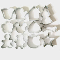 12Pcs/Lot Christmas Cookie Cutter Tools Aluminium Alloy Gingerbread Men Shaped Holiday Biscuit Mold Kitchen cake Decorating Tool - cake decorations ideas