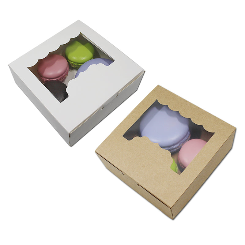 20pcs/Lot Kraft Paper Food Packaging Box For Cookies/Biscuit Macaron Chocolate Storage Boxes Poly Clear Window Gift Package Case - cake decorations ideas