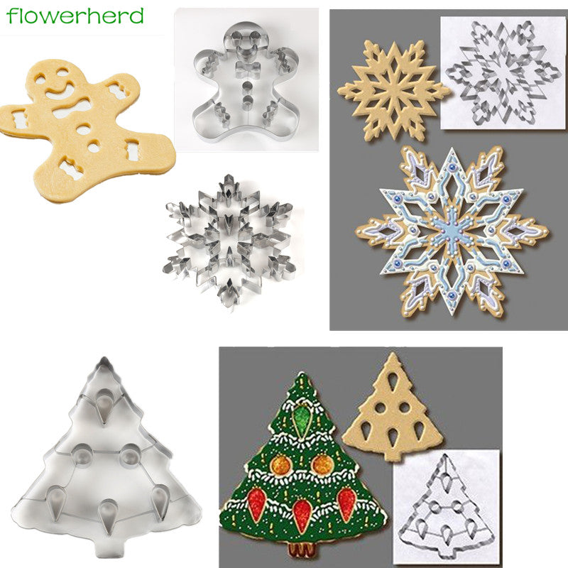 3D Christmas Tree snowflake Gingerbread Cookie Cutter Tools Stainless steel Gingerbread Shaped Biscuit Mold Kitchen cake Tools - cake decorations ideas