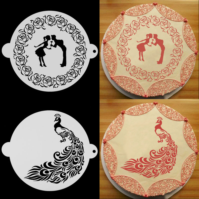 Safe Plastic Cake Stencil Spray Mold Peacock And Lovers Design For Cake Decoration Cappuccino Decorating Mousse Cake Tools - cake decorations ideas