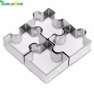 4Pcs/Set Stainless Steel Cookies Moulds Cookie Cutter Set DIY Biscuit Mold Dessert Bakeware Cake Mold With Puzzle Shape - cake decorations ideas