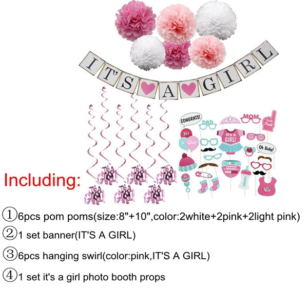 1Set Paper Crafts Baby Shower IT'S A Boy /Girl Banner Garlands Bunting Tassel For Kids Birthday Decoration Party Supplies - cake decorations ideas