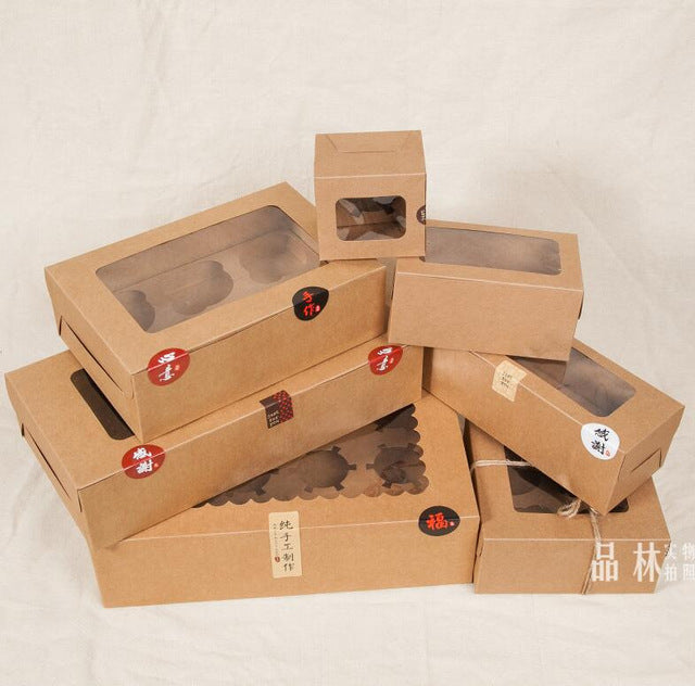 Large Brown Muffin packaging 6 cupcake boxes 8,Kraft paper gift cake box with pvc window, 4 cupcake packing craft box blue - cake decorations ideas