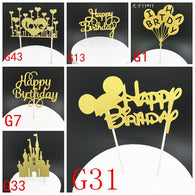 1pcs Creative Cake Topper Happy Birthday Flags Colorful Mickey gold For Family Birthday Party Cake Baking Decoration Supplies - cake decorations ideas