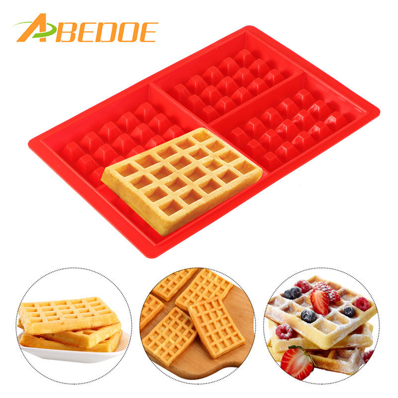 ABEDOE 1pcs Waffle Makers for Kids Silicone Cake Mould Waffle Mould Silicone Bakeware Set Nonstick Silicone Baking Mold Set - cake decorations ideas