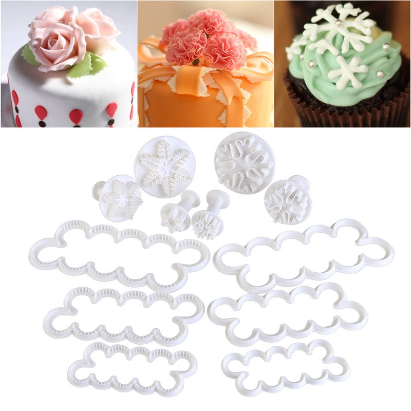 OUNONA 12pcs Rose Carnation Cake Mold Decorating Fondant Embossing Tool Snow Flower Plunger Cake Cutter DIY - cake decorations ideas