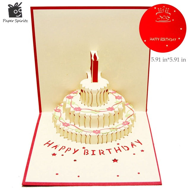 3D Handmade Custom Birthday Invitations Cards Wishes Messages Greeting Gift Postcards Vintage Laser Cut Pop