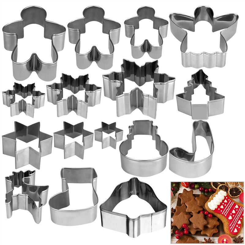 HOMEMAXS 16pcs Christmas Stainless Steel Cake Biscuit Moulds Cookie Cutter Fondant Icing Mold DIY Baking Tools - cake decorations ideas