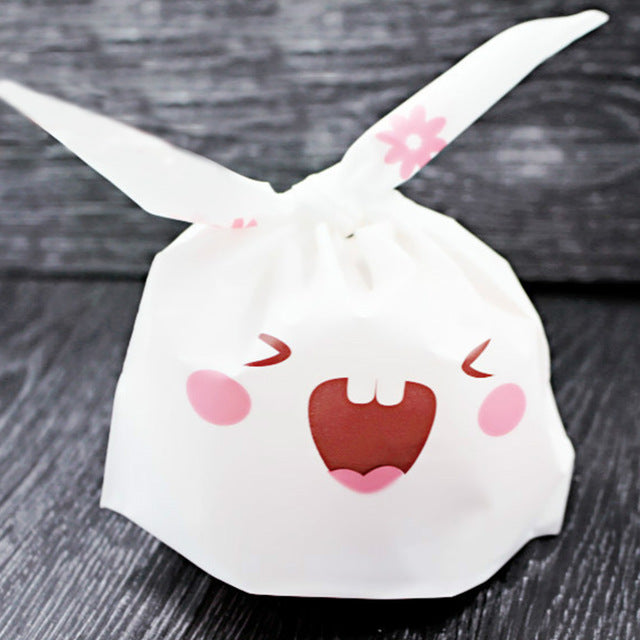 50pcs/lot Cute Rabbit Ear Biscuit Bag Moisture Proof Plastic Candy Box Cookie Bags Snack Cake Gift Packaging Bag Wedding Supply - cake decorations ideas