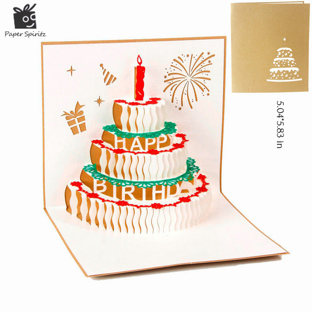 Happy Birthday Postcard Greeting Gift Cards Blank Paper 3D Handmade Pop Up Laser Cut Vintage Invitations Custom with Envelope - cake decorations ideas
