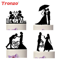 Tronzo New Romantic Black Acrylic Cake Topper Mr Mrs Lover Cake Decorating Supplies For Wedding Decoration Valentine's Day - cake decorations ideas