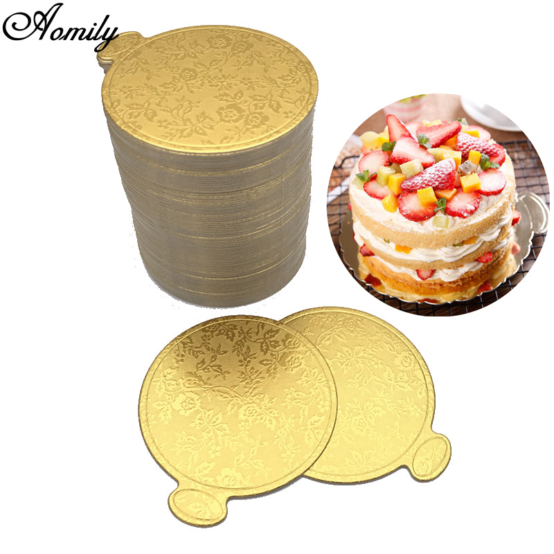 Aomily Gold Printing Round Mousse Cake Boards Paper 100pcsSet - Wedding Cake Boards