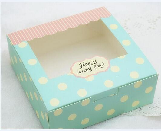 Alice,Blue dots paper cake box with window,20pcs/lot 21.5*13.5*5cm birthday/Christmas party gift box packaging - cake decorations ideas