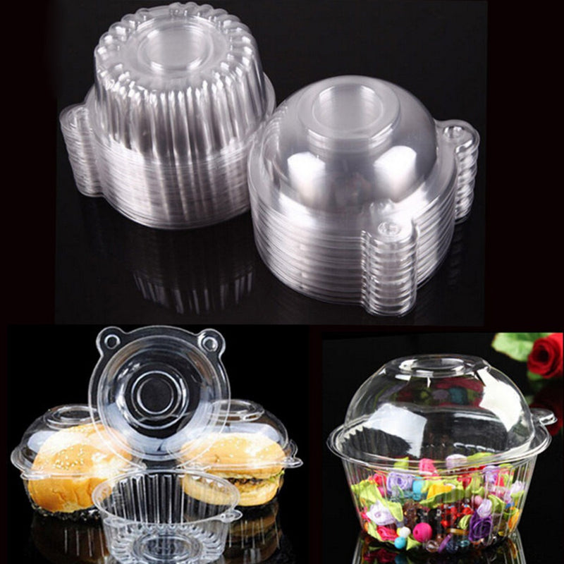 100Pcs/lot Hot Sale Cake Tools Clear Plastic Single Cupcake Cake Case Muffin Pod Dome Holder Box Container Wholesale - cake decorations ideas
