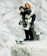 Winter Skiing Wedding Couple Figurine funny Cake topper - cake decorations ideas