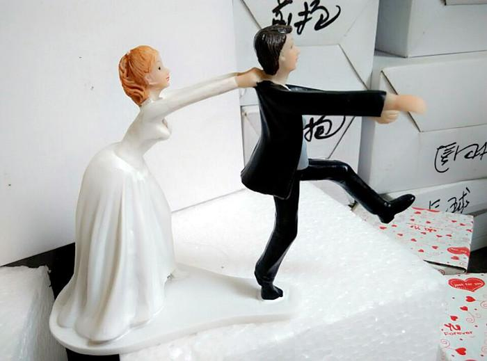 Come Back Bride And Groom Funny Wedding Cake Topper Personalized
