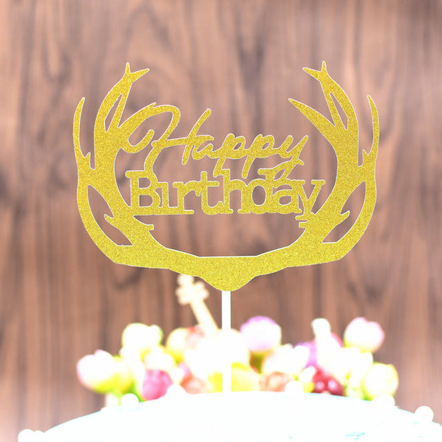 1pc DIY Cupcake Cake Topper Multi-Shape Happy Birthday Cake Flags For Family Kids Birthday Party Cake Baking Decoration Supplies - cake decorations ideas