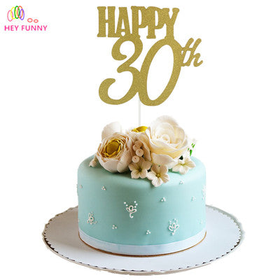 1pc Gold Happy 30th/40/50/60 Topper Glitter Silhouette Wedding Cake Topper Wedding/Birthday/Party Cake Topper Cake Decoration - cake decorations ideas