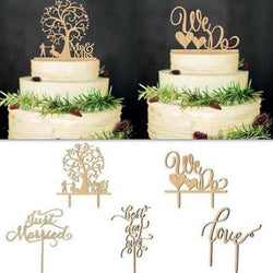 Hot New Wedding Cake Topper Insert Card Love Groom And Bride Acrylic Happy Birthday Married Cake Decoration - cake decorations ideas