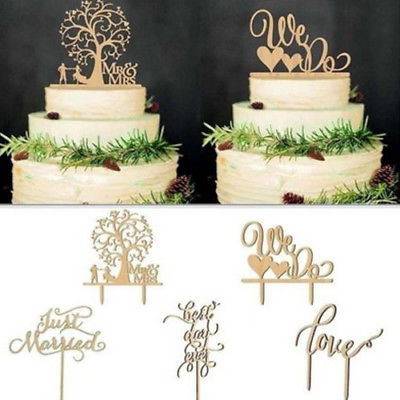 Hot New Wedding Cake Topper Insert Card Love Groom And Bride Acrylic
