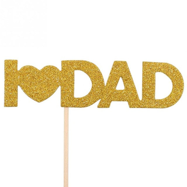12Pieces /set I Love You Mom Dad Gold Paper Cupcake Toppers Mothers Fathers Day Happy Birthday Cakes Party Gifts Decoration - cake decorations ideas