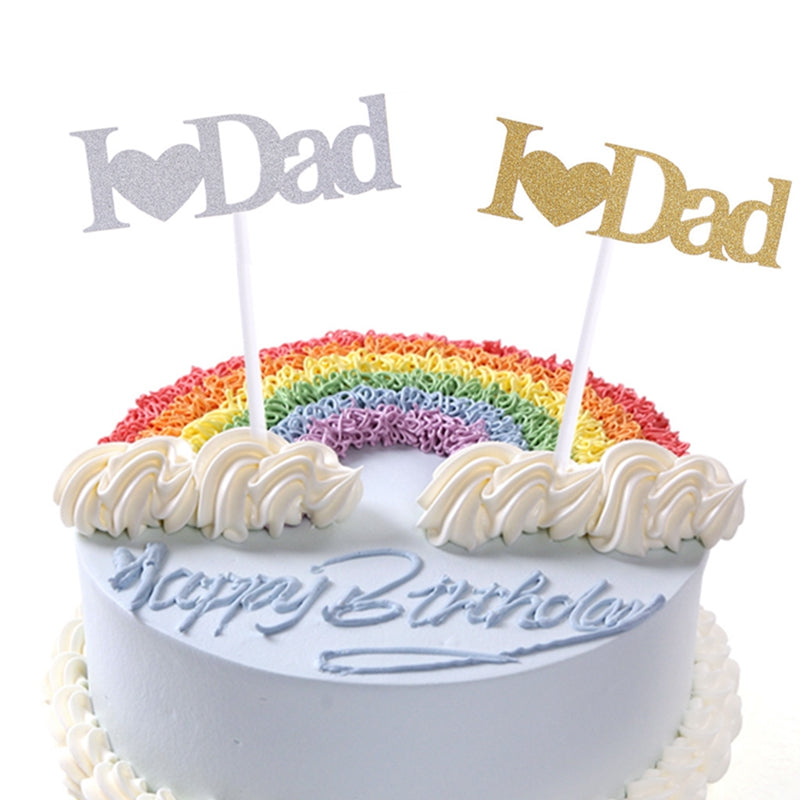 I Love Dad Cupcake Cake Topper Glitter Shimmer Birthday Fathers Day Party Decor