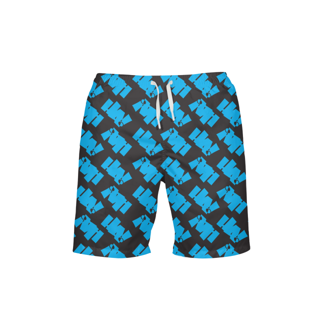 logo_Blue on Black Mens All-Over Print Swim Trunks - Herban Apparel