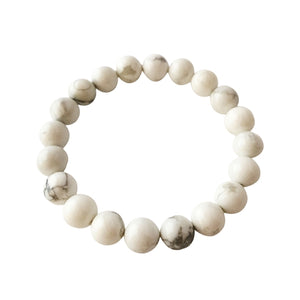 8mm White Howlite Bracelet ~ Calm & Relief - Herban Apparel