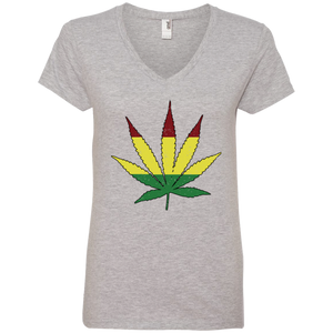 Distressed Rasta Leaf - Ladies' V-Neck T-Shirt - Herban Apparel