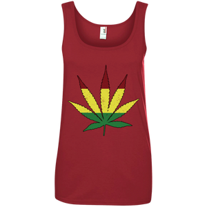 Distressed Rasta Leaf - Ringspun Tank Top - Herban Apparel