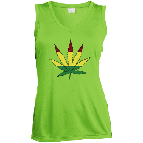 Distressed Rasta Leaf - V-Neck - Herban Apparel