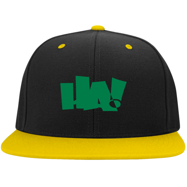 HA GREEN LOGO - Flat Bill High-Profile Snapback Hat - Herban Apparel