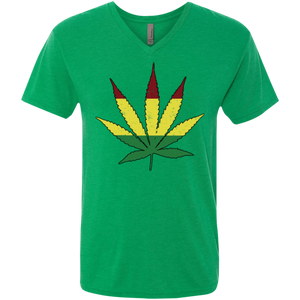Distressed Rasta Leaf -  Men's Triblend V-Neck T-Shirt - Herban Apparel