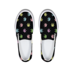 Pastel Leaf -  Slip-On Canvas Shoe - Herban Apparel