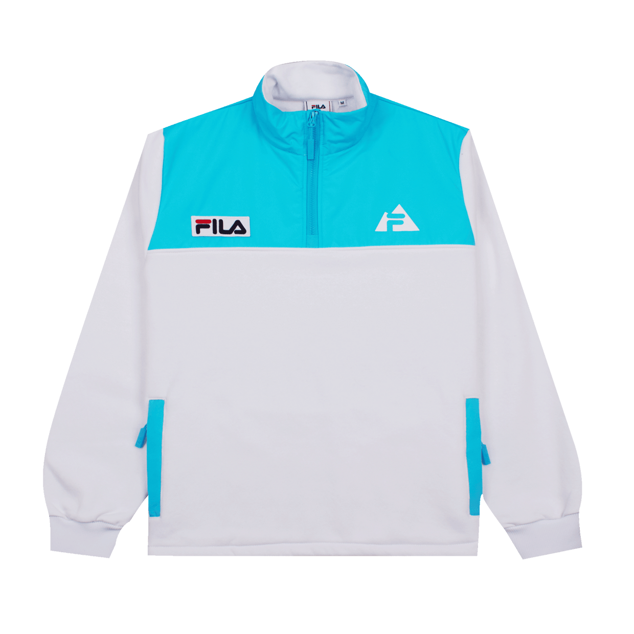 Aiden Half-Zip Crew - White/Light Blue