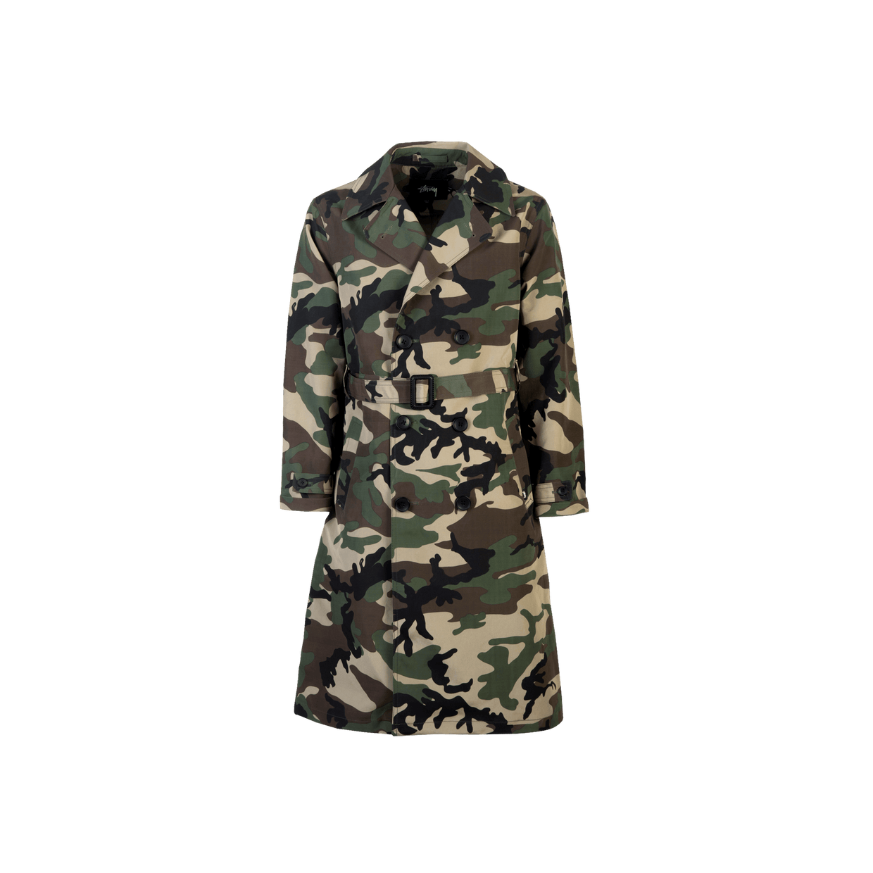 Double Breasted Trench - camo