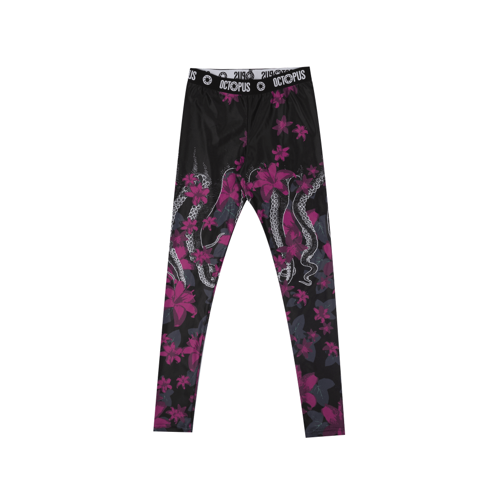 Flowers Leggins - Black/White/Purple