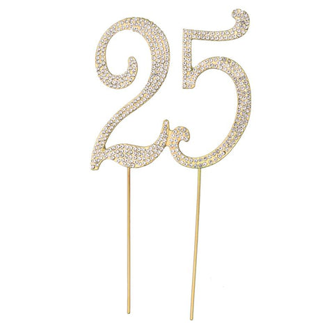 25 Cake Topper Golden Silver Crystal Rhinestones Decorative Cupcake For 25th Birthday Anniversary Party Supplies
