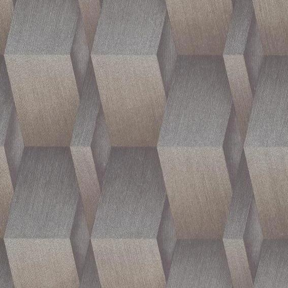 Fashion For Walls Gunmetal and Gold 3D Geometric Wallpaper