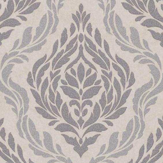 Carat Champagne and Pewter Damask Wallpaper
