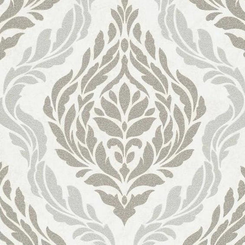 Carat Champagne and Silver Damask Wallpaper