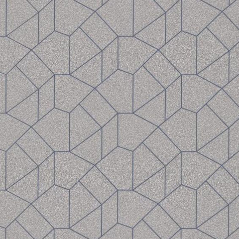 Carat Champagne Gold / Blue Geometric Wallpaper