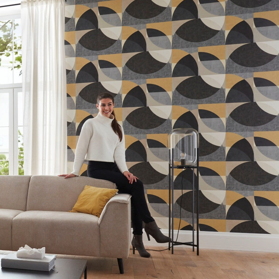 ELLE Decoration Charcoal and Gold Geometric Wallpaper