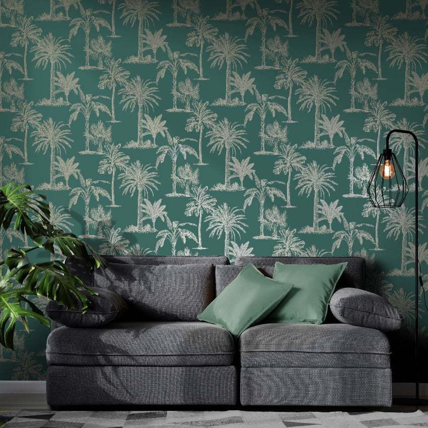 Teal green and gold palm trees wallpaper