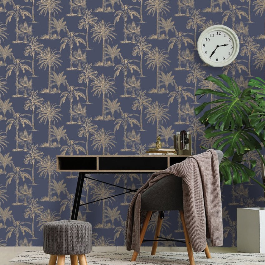 Navy blue and gold palm trees wallpalper