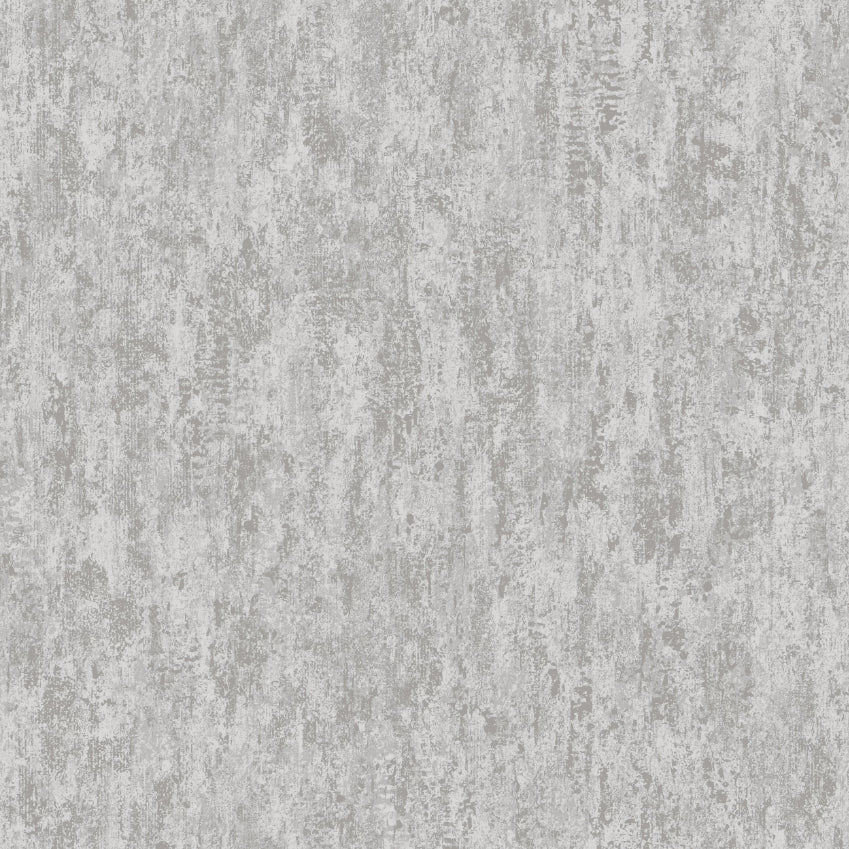 Silver and grey metallic distressed plaster effect wallpaper