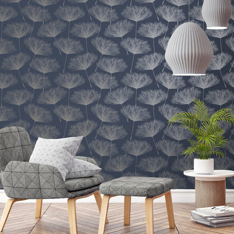 Navy blue and silver dandelion flower wallpaper